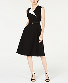 Belted Foldover Midi Dress