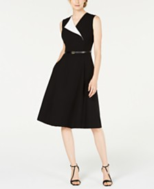 Calvin Klein Belted Foldover Midi Dress