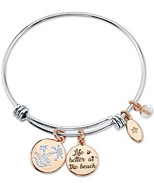 """Life is Better at the Beach"" Wave Adjustable Bangle Bracelet in Stainless Steel and Rose Gold Two-Tone Fine Silver Plated Charms"