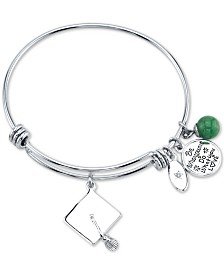 "Unwritten Graduation Cap & ""Be who you are do what you love"" Green Aventurine Bead Charm Bangle Bracelet in Silver-Plate Stainless Steel"