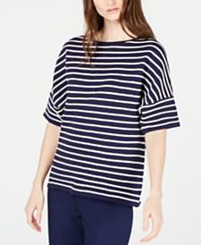 Anne Klein Short-Sleeve Striped Top