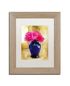 """Lois Bryan 'Pink Carnations in Cobalt Blue Vase' Matted Framed Art - 11"""" x 14"""""""