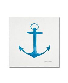 "Stephanie Marrott 'Anchor In Blue' Canvas Art - 14"" x 14"""