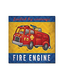 "Stephanie Marrott 'Fire Engine' Canvas Art - 14"" x 14"""