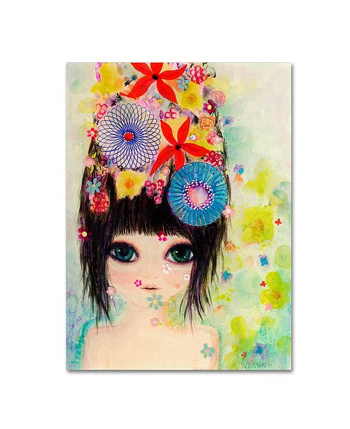 "Trademark Global Wyanne 'Big Eyed Girl Raining Flowers' Canvas Art - 14"" x 19"""