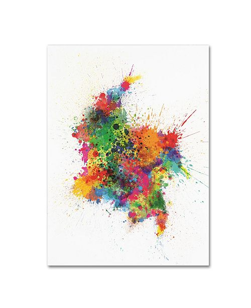 "Trademark Global Michael Tompsett 'Colombia Paint Splashes Map' Canvas Art - 14"" x 19"""