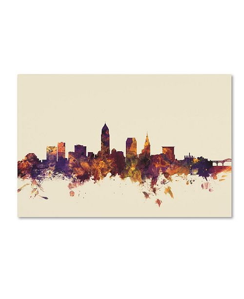 "Trademark Global Michael Tompsett 'Cleveland Ohio Skyline' Canvas Art - 12"" x 19"""