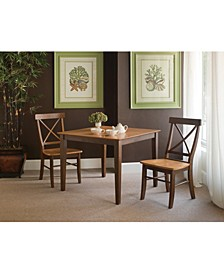 36X36 Dining Table With 2 X-Back Chairs