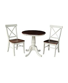 """30"""" Round Pedestalestal Dining Table With 2 X-Back Chairs"""
