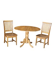 "42"" Dual Drop Leaf Table With 2  Mission Chairs"