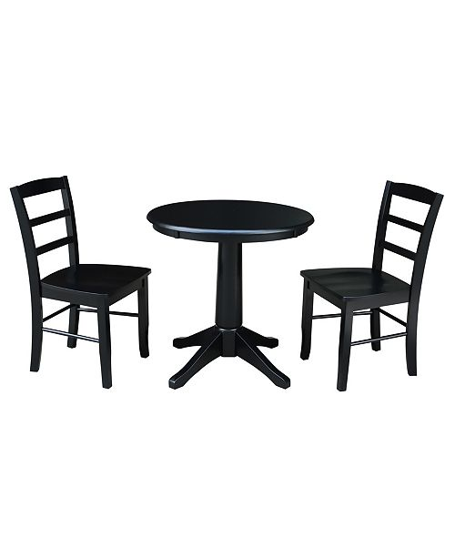 "WHITEWOOD INDUSTRIES/INTNL CONCEPTS International Concepts 30"" Round Top Pedestal Table- With 2 San Remo Chairs"
