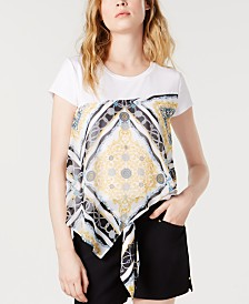I.N.C. Scarf-Print T-Shirt, Created for Macy's