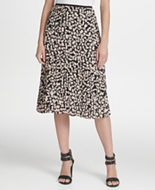 DKNY Petite Floral Pleated Midi Skirt