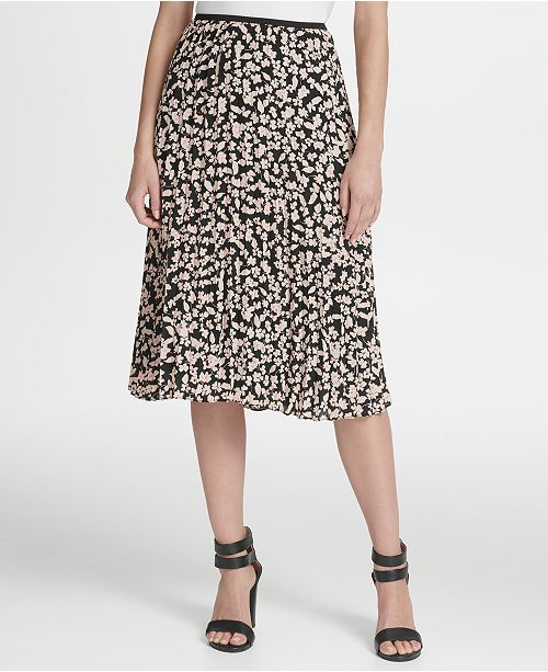 famous brand exceptional range of colors shop best sellers DKNY Petite Floral Pleated Midi Skirt & Reviews - Wear to ...