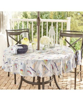 """Sail Away Stain Resistant Indoor Outdoor 70"""" Round Umbrella Tablecloth"""