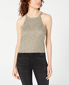 Crave Fame Juniors' High-Neck Ribbed Tank
