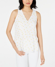 Maison Jules Printed Sleeveless V-Neck Top, Created for Macy's