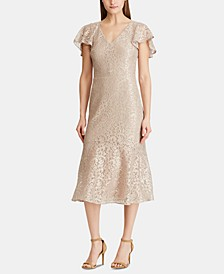 Flutter-Sleeve Lace Cocktail Dress