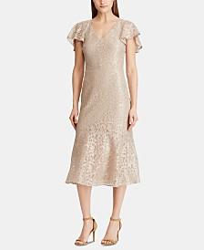 Lauren Ralph Lauren Flutter-Sleeve Lace Cocktail Dress