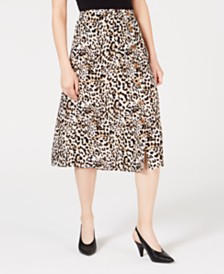 BCX Juniors' Animal-Print Buttoned Skirt