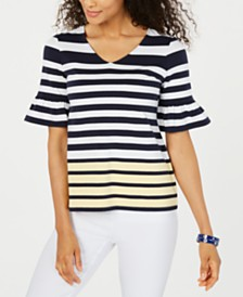 Charter Club Petite Colorblocked Top, Created for Macy's