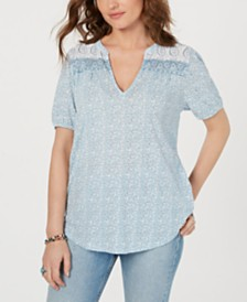 Lucky Brand Border-Print Peasant Top