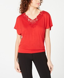 BCX Juniors' Crochet-Trim V-Neck Top