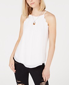 BCX Juniors' Scalloped Tank Top with Necklace