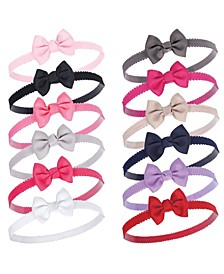 Petite Bow Headbands, 12 Pack