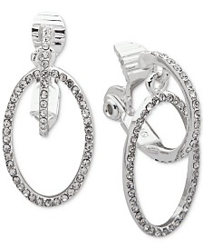 Lauren Ralph Lauren Silver-Tone Pavé Clip-On Drop Hoop Earrings