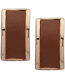 Lauren Ralph Lauren Leather Rectangular Stud Earrings