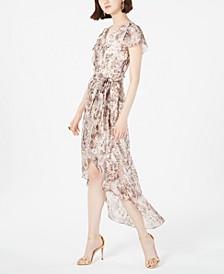 Python-Print High-Low Wrap Dress