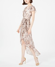 julia jordan Python-Print High-Low Wrap Dress