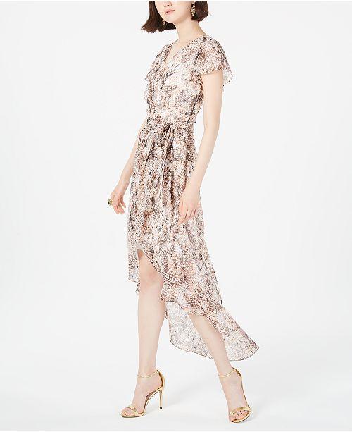 julia jordan Python-Print High-Low Wrap Dress