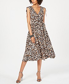 V-Neck Animal-Print Midi Dress