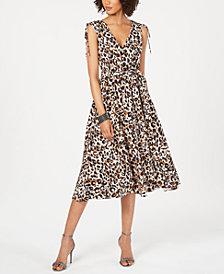 julia jordan V-Neck Animal-Print Midi Dress