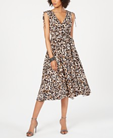 julia jordan V-Neck Animal-Print Midi Dress