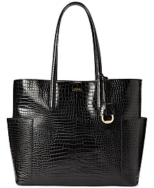 Lauren Ralph Lauren Carlyle Croc-Embossed Leather Tote