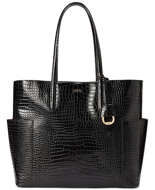 Lauren Ralph Lauren Carlyle Croc-Embossed Leather Tote