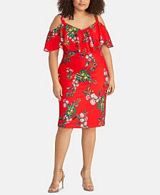 RACHEL Rachel Roy Trendy Plus Size Floral-Print Cold-Shoulder Dress