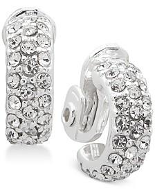 Lauren Ralph Lauren Silver-Tone Crystal Pavé Hoop Clip-On Earrings