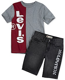 Levi's® Big Boys Colorblocked Logo-Print T-Shirt & 502™ Regular Tapered-Fit Racetrack Logo-Print Denim Shorts