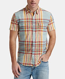Men's Madras Plaid Short Sleeve Shirt