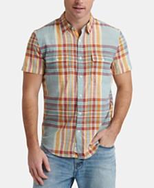Lucky Brand Men's Madras Plaid Short Sleeve Shirt