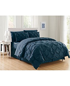 8-Piece Pintuck Bed-in-a-Bag Comforter Set Includes Bed Sheet Set with Double Sided Storage Pockets Full/Queen