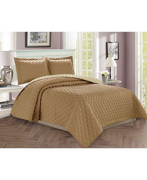 Elegant Comfort Luxury 2-Piece Bedspread Coverlet Diamond Design Quilted Set with Shams - Twin/Twin XL