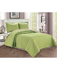 Luxury 2-Piece Bedspread Coverlet Diamond Design Quilted Set with Shams - Twin/Twin XL