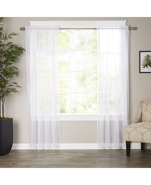 "Elegant Comfort 2-Piece Sheer Window Curtain/Panel with 2"" Rod Pocket - Window Curtains 60"" W x 84"" L"