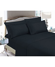 Elegant Comfort 6-Piece Luxury Soft Solid Bed Sheet Set Queen