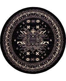 Charvi Chr1 Black 8' x 8' Round Area Rug